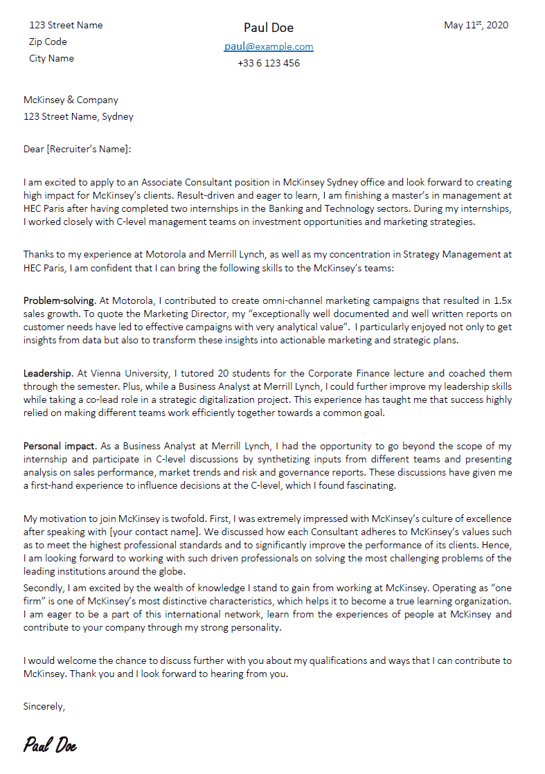 Consulting Cover Letter Sample from careerinconsulting.com